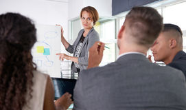 Team van succesvolle bedrijfsmensen die een vergadering in uitvoerend zonovergoten bureau hebben Royalty-vrije Stock Afbeeldingen