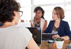 Team van succesvolle bedrijfsmensen die een vergadering in uitvoerend zonovergoten bureau hebben stock fotografie