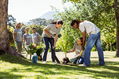 Team van vrijwilligers die samen tuinieren Stock Foto