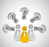 Team with various question. coworkers illustration Royalty Free Stock Photography