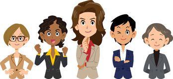Team of various racial business _ women _ upper body vector illustration