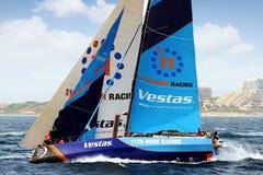 Team VESTAS die in het Oceaanras van Volvo na verlof Alicante rennen stock foto