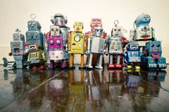A team of vintage robots royalty free stock photo
