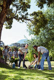 Team of volunteers gardening together Stock Images