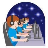 Team von Berufs-eSport Gamers, die in den wettbewerbsfähigen Videospielen auf einem Cyber-Spiel-Turnier spielen lizenzfreie abbildung