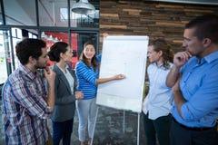 Team von den Wirtschaftlern, die Diskussion über Flip-Chart haben stockbild