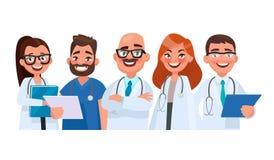 Team von Doktoren auf lokalisiertem Hintergrund Medizinische Arbeitskräfte Vektor vektor abbildung