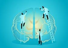 Team von Doktoren bestimmen menschliches Gehirn Neurologe-Konzept vektor abbildung