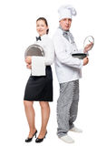 Team waiter and chef portrait on white. Background stock image