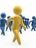 Team walk. Team leader and followers marching jointly - leader detail Stock Image