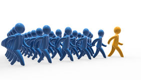 Team walk. Team leader and followers marching jointly Royalty Free Stock Image