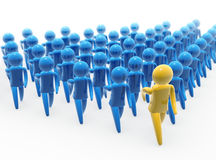 Team walk. Team leader and followers marching jointly Royalty Free Stock Photos