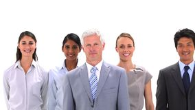 Team walking behind its boss Royalty Free Stock Photography
