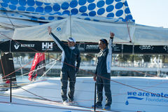 Team We are Water. Skippers Bruno Garcia and Willy Garcia. Barcelona World Race Royalty Free Stock Photo