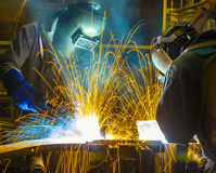 Team Welder Industrial automotive part Stock Photos