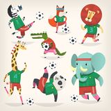 Team of wild animals playing football. Second team. Cute animal characters in different positions. Vector illustrations. Sport is for everyone. Isolated images Royalty Free Stock Photo