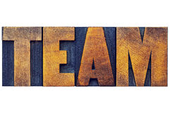Team word abstract in wood type Royalty Free Stock Photo