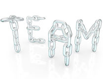 Team Word Chain Links Together Partners. The word Team made up of chain links symbolizing teamwork, togetherness, community, solidarity and society, people Royalty Free Stock Images