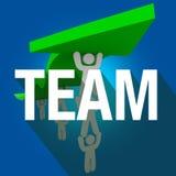Team Word Long Shadow People som tillsammans arbetar elevatorpilen stock illustrationer