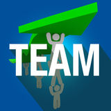Team Word Long Shadow People Working Together Lift Arrow Royalty Free Stock Photos