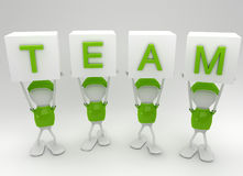 Team work. Team players working together side by side Stock Image