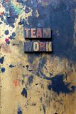 Team Work. The word Team Work written in very old and well used letterpress type Royalty Free Stock Images