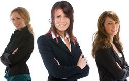 Team work. Three business woman building a strong female team Stock Images
