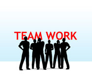 Team work. Silhouette of a team stock illustration