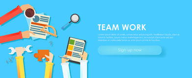 Team work banner. Hands with objects, document, coffee, puzzle Stock Photo
