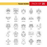 Team Work Black Line Icon - insieme dell'icona del profilo di 25 affari illustrazione vettoriale