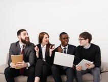 Team work, business colleagues enjoy success Stock Photos