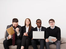 Team work, business colleagues enjoy success Royalty Free Stock Images