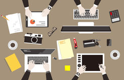 team work, business man met at the meeting, vector illustration Royalty Free Stock Images