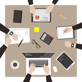 Team work, business man met at the meeting. Vector illustration Royalty Free Stock Photos