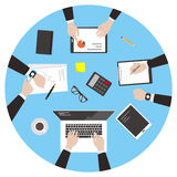 Team work, business man met at the meeting. Vector illustration Royalty Free Stock Photography