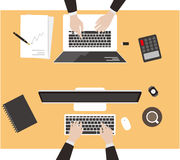 Team work, business man met at the meeting. Vector illustration Royalty Free Stock Photo