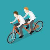 Team work businessmen riding tandem bike flat isometric vector. Flat 3d isometric team work concept web infographics vector illustration. Two businessmen riding Stock Photos