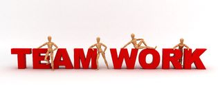 Team Work (With clipping path). (computer generated image Stock Illustration