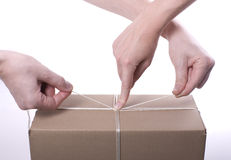 Team work (color). Hands tying the nut on the box. (color royalty free stock photos