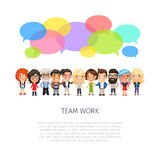 Team Work with Colorful Speech Bubbles Royalty Free Stock Photography