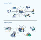 Team Work, compositions de commercialisation en concept d'affaires d'icônes réglées illustration libre de droits