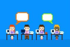 Team Work Computer, comunicación de Internet de la burbuja de la charla del grupo de la gente de la atención al cliente de los op stock de ilustración