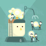 Team work concept with bulb and businessmen Stock Photo