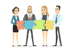 Team work concept. Business people building puzzle together Stock Photography