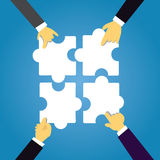 Team Work Concept. Connecting Puzzles Together. Top view vector illustration. Team Work Concept. Businessmen hands connecting puzzles together Royalty Free Stock Image