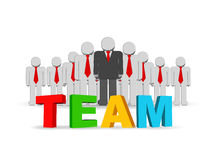 Team work concept. 3d illustration of a group of employees and  their leader Stock Photography