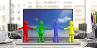 Four colorful human figures holding hands on a computer, blur office business background. 3d illustration. Team work concept. Four colorful human figures holding Stock Images