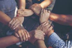 Team Work Concept: Grupo de mãos diversas junto Proces transversal fotografia de stock royalty free