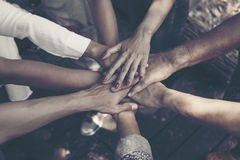 Team Work Concept: Grupp av olikt f?r h?nder argt bearbeta tillsammans av ungdomari naturen arkivbilder
