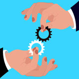 Team work concept, hand holding gears, vector illustration Stock Photography